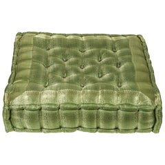 Oversized Silk Square Green Tufted Moroccan Floor Pillow Cushion
