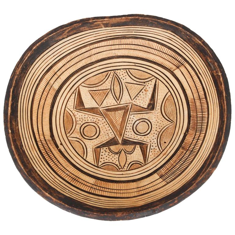 handcarved west african tribal wooden bowl 1