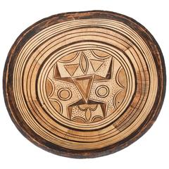 Hand-Carved West African Tribal Wooden Bowl