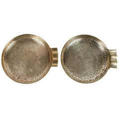 Pair of Round Etched Brass Ashtrays