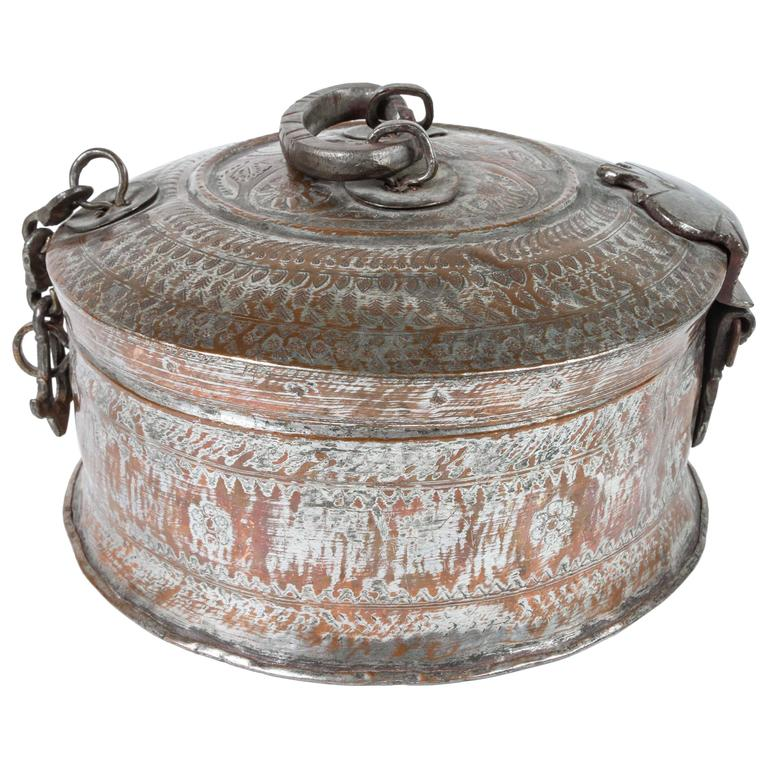 Large Decorative Round Bronze Box With Lid For Sale At 40stdibs Best Decorative Metal Boxes With Lids