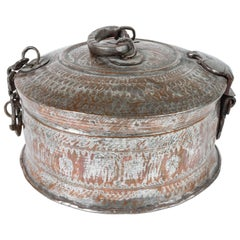 Large Decorative Asian Round Copper Bronze Box with Lid