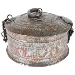 Large Decorative Round Bronze Box with Lid
