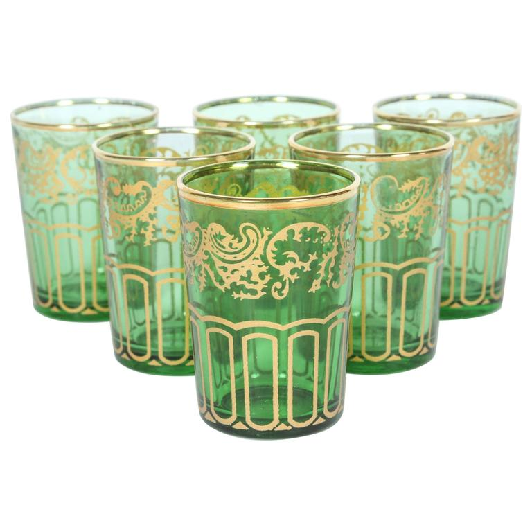 Set of Six Green and Gold Glasses
