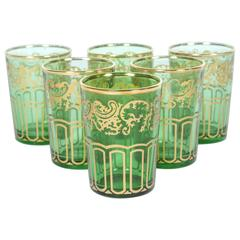 Set of Six Moroccan Green and Gold Glasses
