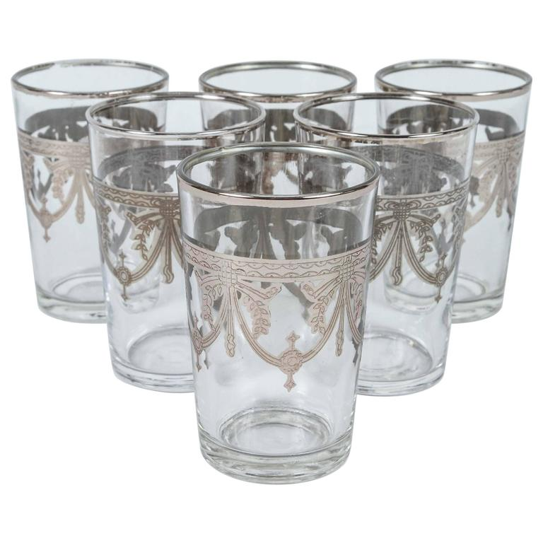 Set of Six Clear and Silver Glasses