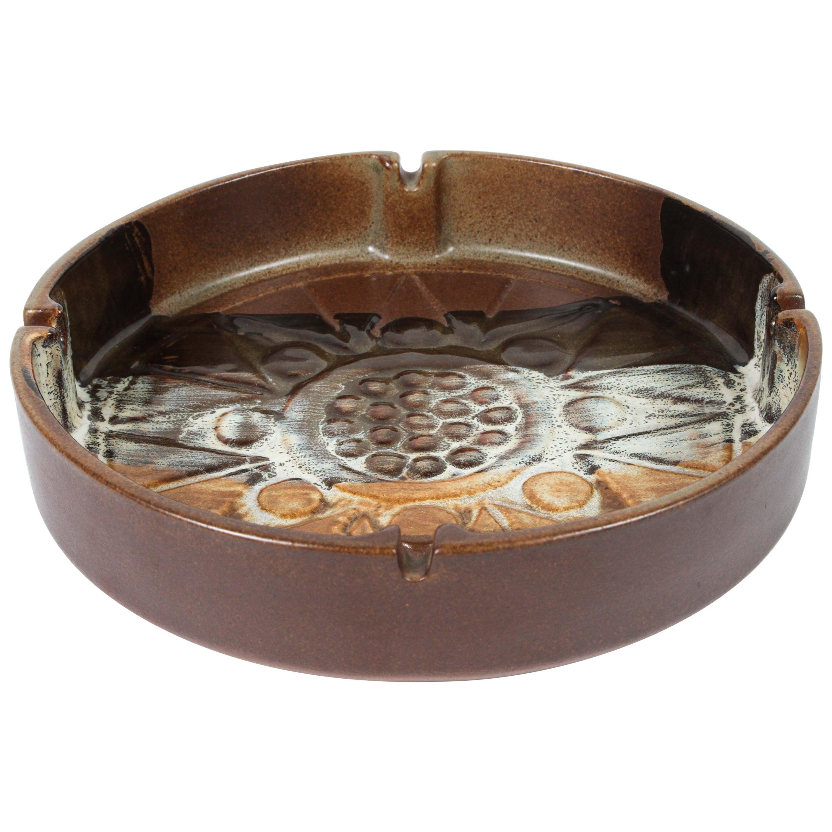 Large Vintage Brown Round Ceramic Bauhaus Style Ashtray