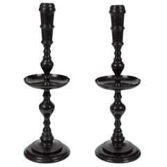 Maitland-Smith Pair of Vintage Black Metal Candle Stands