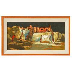 """Mid-Century Painting """"Les Baux de Provence"""" by Darwin Musselman"""