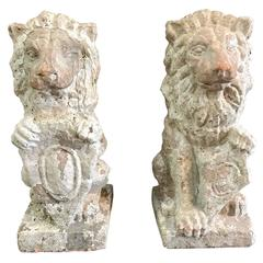 Pair of French Terracotta Lions