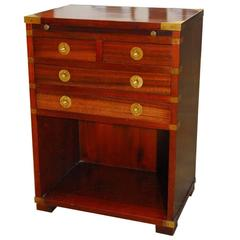 English Mahogany Campaign Chest with Leather Writing Table
