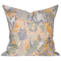 Large Vintage Schiaparelli Camouflage Silk Scarf with Irish Linen Cushion Pillow