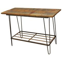 French Industrial Console Table with Hairpin Legs