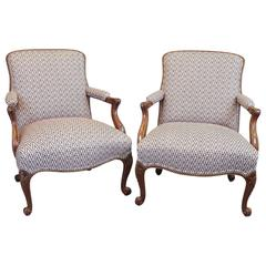 Pair of Late 19th Century Georgian Style Mahogany Library Chairs