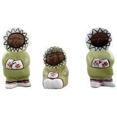 Collection of Upsala-Ekeby Art Pottery Figurines, Eskimo Children