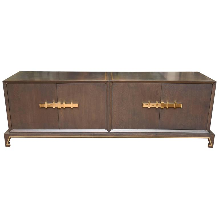 Tommi Parzinger Style Wood and Solid Brass Low Cabinet /SATURDAY SALE