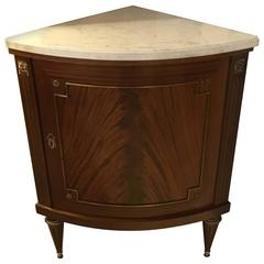 Jansen Louis XVI Style Demilune Corner Cabinet with Marble Top