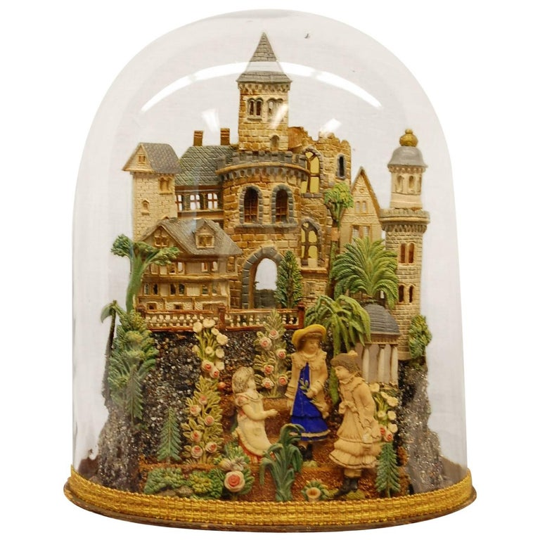 Early 19th Century Composition Diorama under Original Glass Dome For Sale