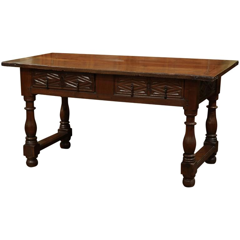 18th Century, Spanish Carved Walnut Two Drawer Console Table With Turned  Legs 1