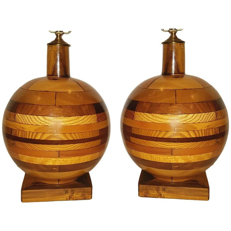 Pair of Wooden Lamps