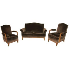 French Art Deco Living Room Set Attributed to Jean Pascaud