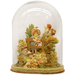 Early 19th Century Composition Diorama under Glass Dome