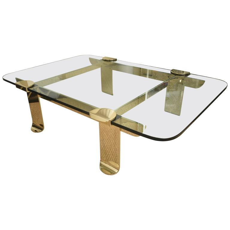 Italian Stellar Solid Brass and Glass Sculptural Cocktail Table