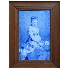 19th Century Framed Painting on Porcelain Woman and Children Charles Chaplin