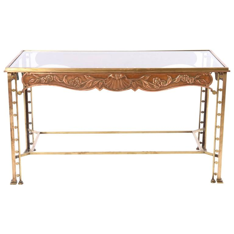 Art Deco Bronze Side Table with Copper Repousse Apron and Glass Top