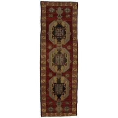 Vintage Turkish Oushak Runner, Gallery Rug with Mid-Century Modern Style