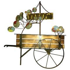 Signed Curtis Jere Brutalist Flower Cart Wall Sculpture