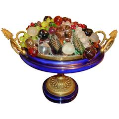 Magnificent and Rare Elaborate 1920s Large Czech Glass Beaded Fruit Lamp Basket