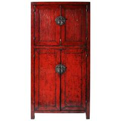 Red Lacquered Chinese Cabinet