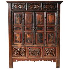 Chinese Oxblood Lacquer Cabinet with Bi-Fold Doors