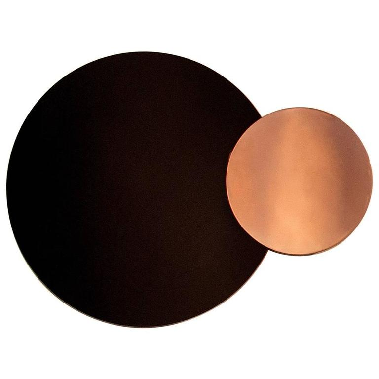 'Constructivist Mirror Series - Circle' Modern Wall Mirror in Polished Copper