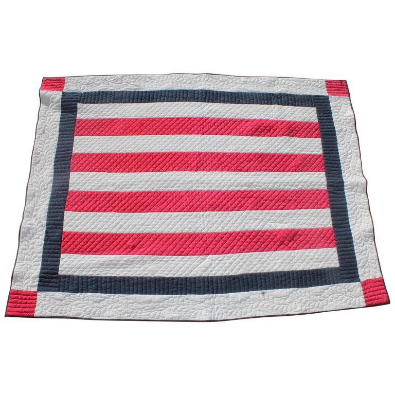 Patriotic Red, White and Blue Bars Quilt 1