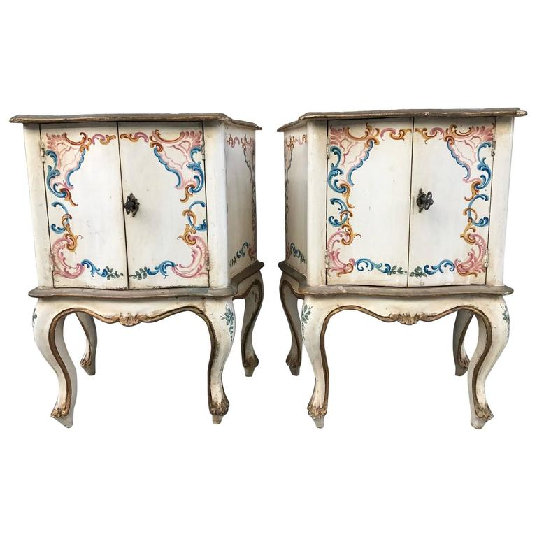 Pair of Hand-Painted Venetian Cabinets
