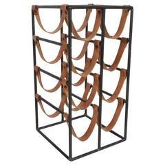 Arthur Umanoff 1950s Iron and Leather Wine Rack