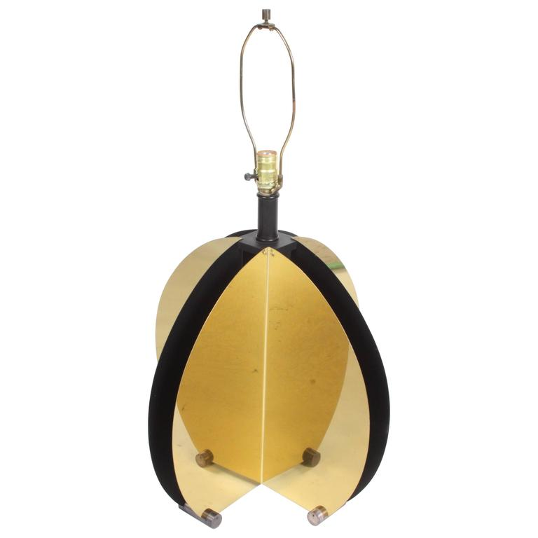 Large 1970s Sculptural Brass Lamp in the Style of C. Jere