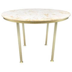 Round Marble Top and Brass Center Table Style of Raphael