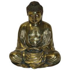 Mid-Century Gilt and Painted Bronze Figure of Buddha