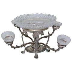 Silver Plated Centrepiece with Four Arms in Bohemian Cut Crystal
