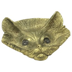 Cat Brass Ashtray or Bowl