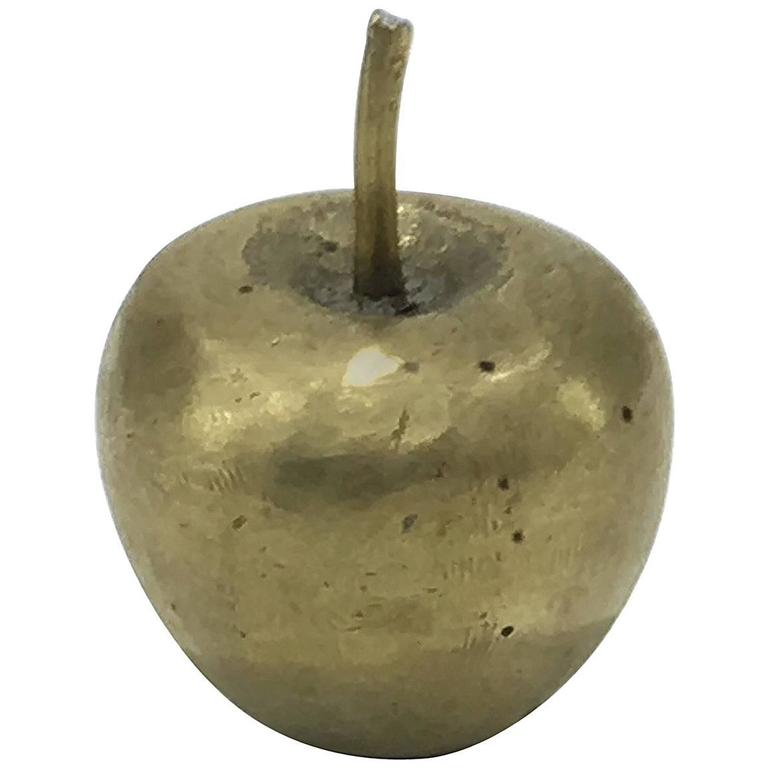 Mid-Century Brass Apple Paper Press or Natural Sculpture