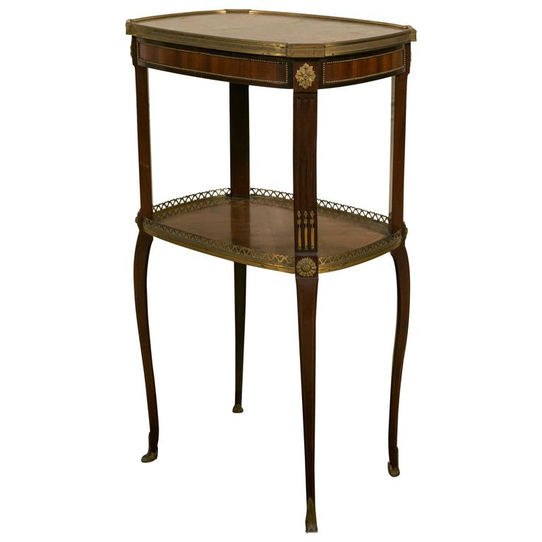 19th Century LXV Style Mahogany Satinwood, Gilt Bronze and Marble Top Side Table For Sale
