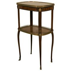 19th Century LXV Style Mahogany Satinwood, Gilt Bronze and Marble Top Side Table