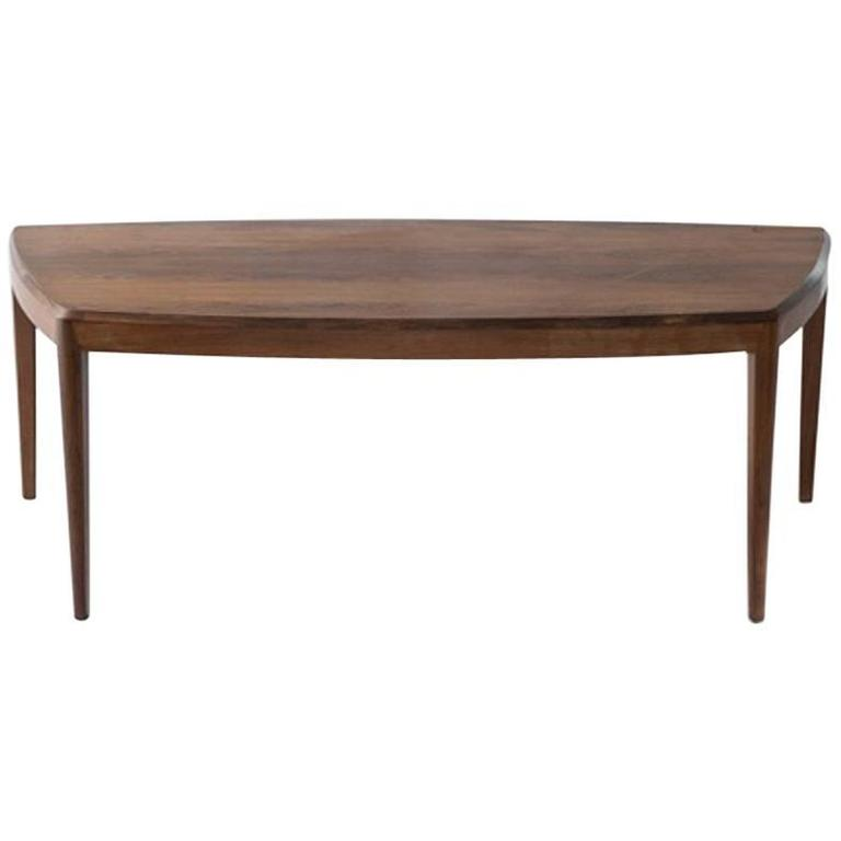 Johannes Andersen 1950s Coffee Table in Rosewood Trapezoid Shape