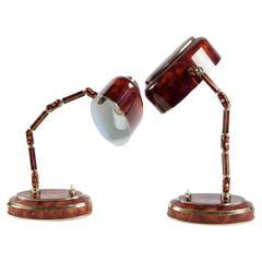 Pair of Tortoise Shell Desk Lamps, circa 1940