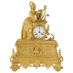 Richly Decorate Romantic Gilt and Chiseled Bronze Mantle Clock, circa 1830