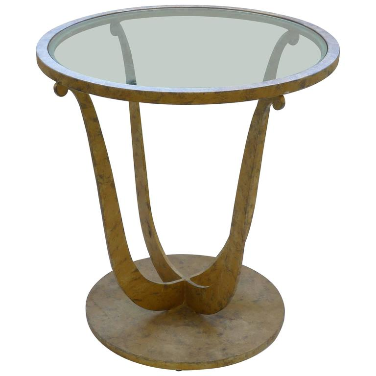 Art Deco Gilt Metal Round Gueridon Table with Clear Glass Insert